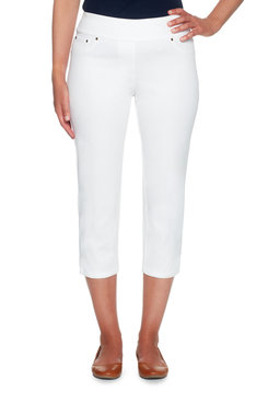Image: Petite Twill Crop Capri With Side Slit