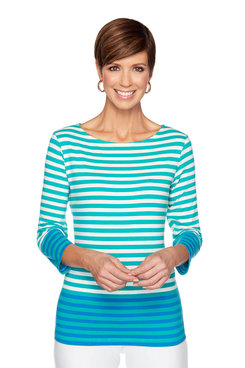 Image: Petite Two Tone Striped Top