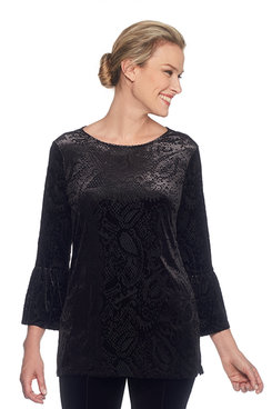 Petite Velvet Paisley Scoop-Neck Tunic