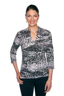 Image: Petite Wavy Animal Print Top