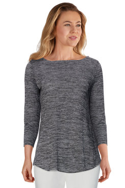 Image: Petite Women's Classic Striped Space Dyed Top