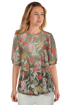 Image: Petite Women's Embellished Tropical Ombre Printed Burnout Top