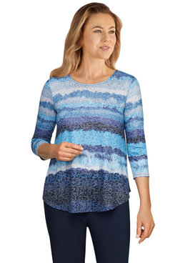 Image: Petite Women's Embellished Watercolor Striped Burnout Top