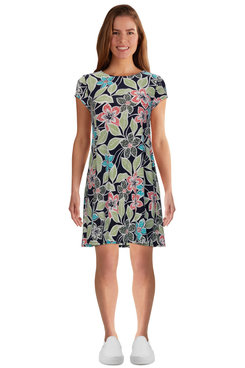 Image: Petite Women's Flowy Floral Puff Printed Dress