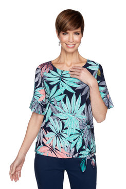 Image: Petite Women's Garden Leaf Puff Printed Top With Flounce Sleeves