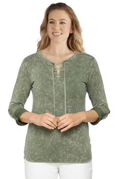 Image: Petite Women's Lace-Up French Terry Pullover