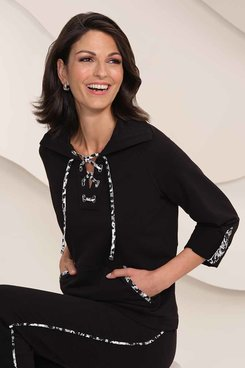 Image: Petite Women's Lace-Up French Terry Pullover With Leopard Trim