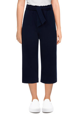 Image: Petite Women's Mid-Rise Pull-On Belted Solid Terry Capri