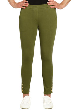 Image: Petite Women's Mid-Rise Pull-On Buttoned Ankle Pant