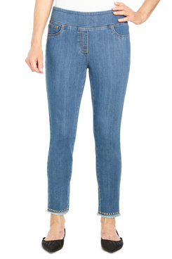 Image: Petite Women's Mid-Rise Pull-On Embellished Denim Ankle Pant