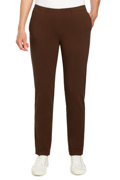 Image: Petite Women's Mid-Rise Pull-On French Terry Pant