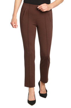 Image: Petite Women's Mid-Rise Pull-On Ponte Pintuck Ankle Pant