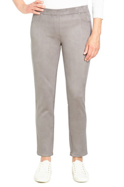 Image: Petite Women's Pull-On Mid-Rise Stretchy Suede Pant