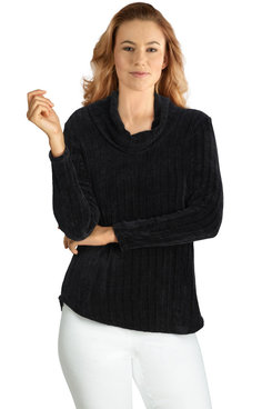 Image: Petite Women's Ribbed Chenille Cowl Neck Pullover