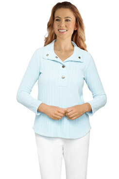 Image: Petite Women's Ribbed Chenille Snap-Collar Pullover