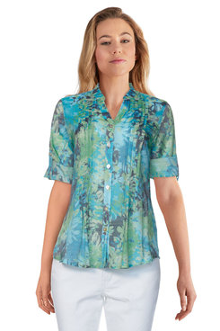 Image: Petite Women's Silky Floral Abstract Button-Front Top