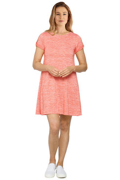 Image: Petite Women's Silky Space Dyed Striped Dress