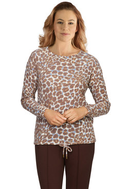 Image: Petite Women's Snow Leopard Printed Waffle Knit Top
