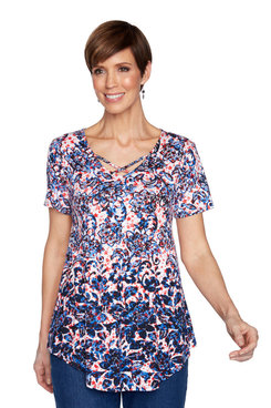 Image: Petite Women's Soft Embellished Criss-Cross Star Spangle Printed Top