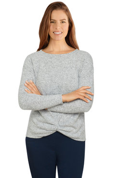 Image: Petite Women's Soft Heather Knit Front Knot Top