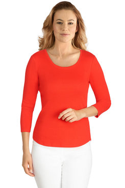 Image: Petite Women's Solid Ribbed Knit Top