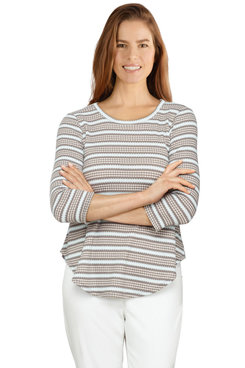 Image: Petite Women's Striped Waffle Knitted Top