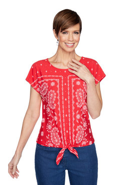 Image: Petite Women's Textured Puff Printed Paisley Border Front-Tie Top