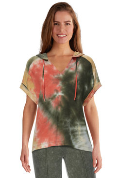 Image: Petite Women's Tie Dye French Terry Pullover