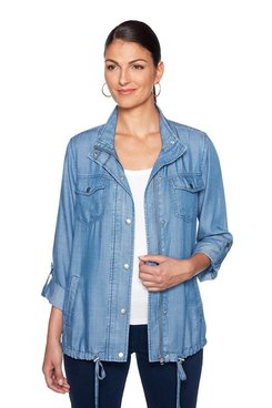 Image: Petite Zip Front Denim Jacket