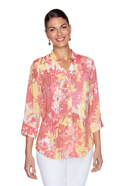Image: Pleated Floral Patchwork Printed Button-Up Top