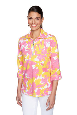 Image: Plus Abstract Floral Half Zip Pullover