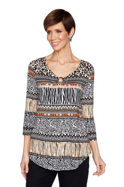 Image: Plus Animal Print Striped Top