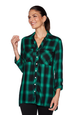 Image: Plus Button-Front Plaid Top