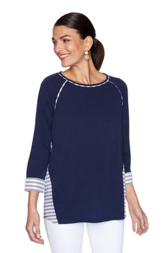 Image: Plus Coastal Striped Cuffed Sleeved Top