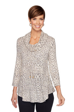 Image: Plus Cowl Neck Leopard Print Sweater
