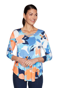 Image: Plus Criss-Cross Floral Printed Top