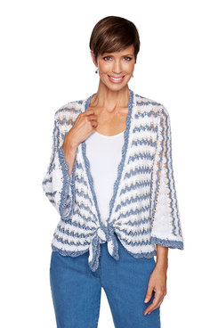 Image: Plus Crochet Striped Cardigan