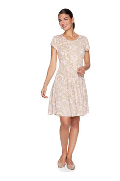Image: Plus Dotted Floral Puff Printed Dress