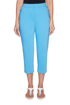 Image: Plus Double Face Stretch Capri With Side Slits