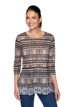 Image: Plus Embellished Border Striped Top