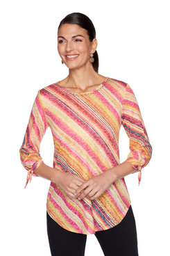 Image: Plus Embellished Diagonal Watercolor Printed Top