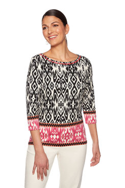 Image: Plus Embellished Ikat Top