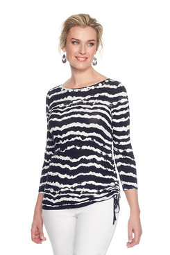 Plus Embellished  Knit Top with Striped Tie Dye