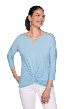 Image: Plus Embellished Knot-Front Top