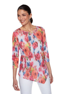 Image: Plus Embellished Scoop-Neck Floral Printed Top