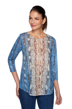 Image: Plus Embellished Snake Print Top