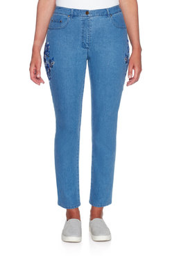 Image: Plus Embroidered Denim Pant