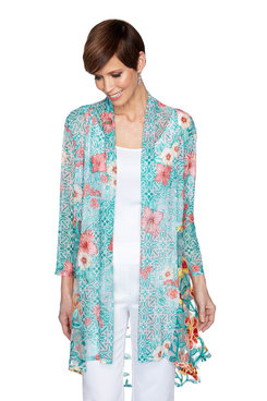 Image: Plus Embroidered Hibiscus Cardigan