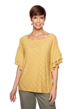 Image: Plus Eyelet Bell Sleeve Top