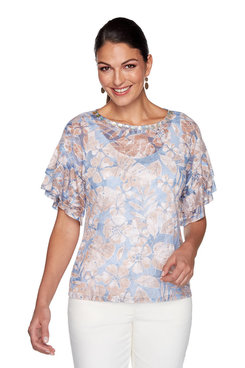 Image: Plus Floral Burnout Top